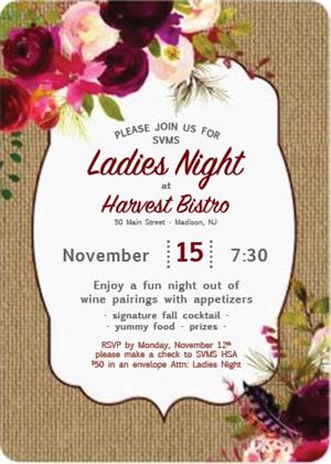 SVMS Ladies Night is now Thursday, November 15th!
